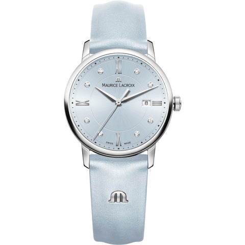 Maurice Lacroix Women's Eliros Date 30mm Mother of Pearl Watch | Turquoise/Turquoise Leather EL1094-SS001-550-1