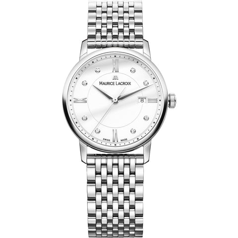 Maurice Lacroix Women's Eliros Date 30mm Mother of Pearl Watch | Silver EL1094-SS002-150-1
