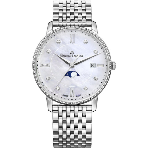 Maurice Lacroix Women's Eliros Moonphase de Lune 35mm Watch | Diamond/Silver EL1096-SD502-170-1