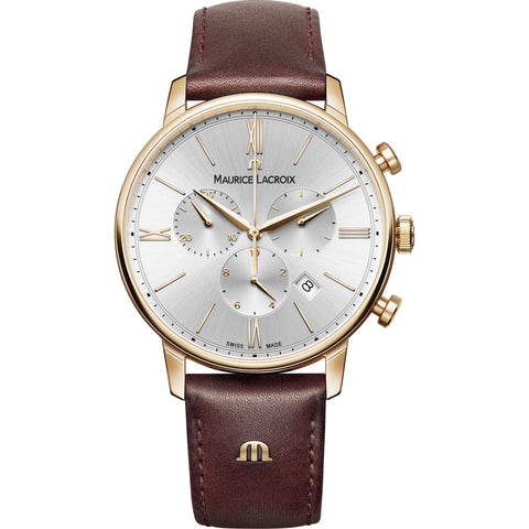 Maurice Lacroix Eliros Chronograph 40mm Watch | Gold/Brown Leather EL1098-PVP01-111-1