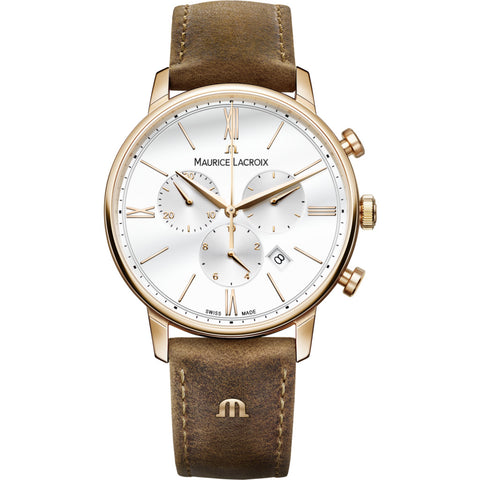 Maurice Lacroix Eliros Chronograph 40mm Watch | Gold/Brown Leather EL1098-PVP01-113-1