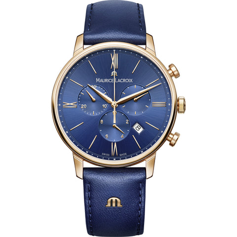 Maurice Lacroix Eliros Chronograph 40mm Watch | Blue/Gold/Blue Leather