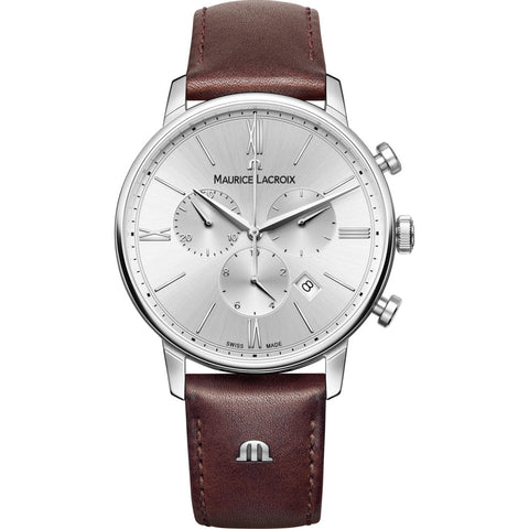 Maurice Lacroix Eliros Chronograph 40mm Watch | Silver/Brown Leather EL1098-SS001-110-1