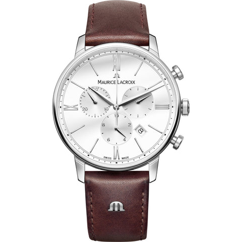 Maurice Lacroix Eliros Chronograph 40mm Watch | White/Brown Leather EL1098-SS001-112-1