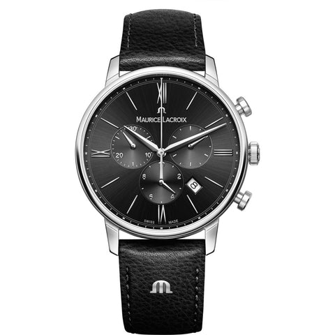 Maurice Lacroix Eliros Chronograph 40mm Watch | Black/Black Leather  EL1098-SS001-310-1