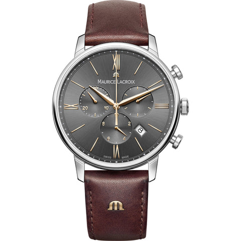 Maurice Lacroix Eliros Chronograph 40mm Watch | Anthracite/Brown Leather EL1098-SS001-311-1