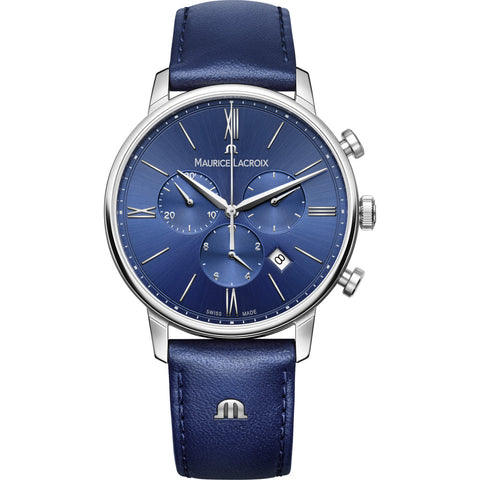 Maurice Lacroix Eliros Chronograph 40mm Watch | Blue/Silver/Blue Leather EL1098-SS001-410-1