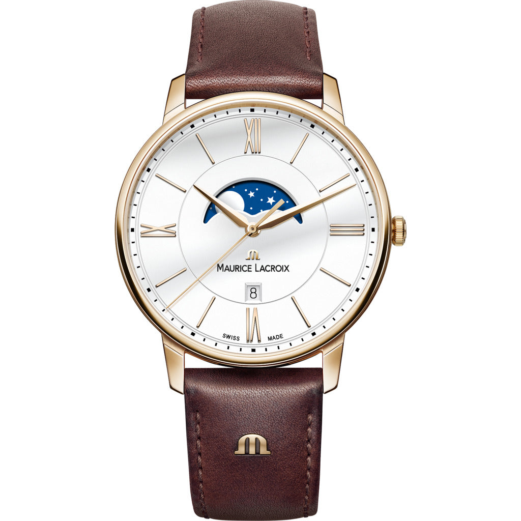 Maurice Lacroix Eliros Moonphase 40mm Watch | Gold/Brown Leather EL1108-PVP01-112-1