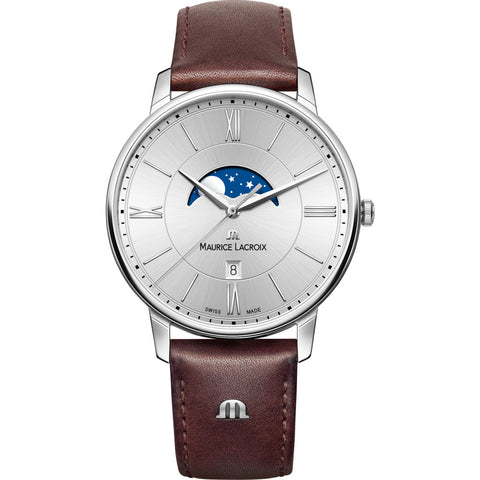 Maurice Lacroix Eliros Moonphase 40mm Watch | Silver/Brown Leather EL1108-SS001-110-1