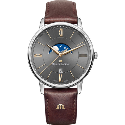 Maurice Lacroix Eliros Moonphase 40mm Watch | Anthracite/Brown Leather EL1108-SS001-311-1