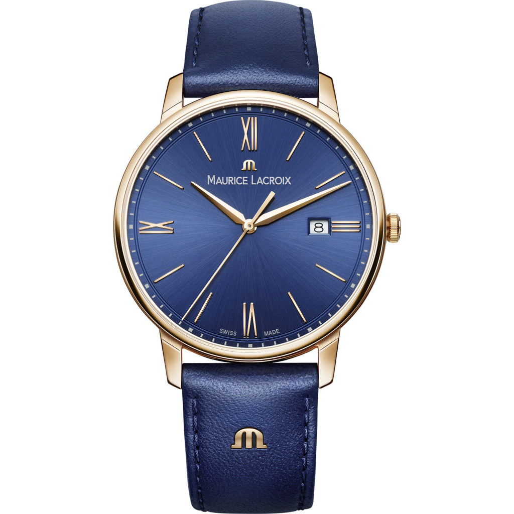 Maurice Lacroix Eliros Date 40mm Watch | Blue/Gold/Blue Leather EL1118-PVP01-411-1