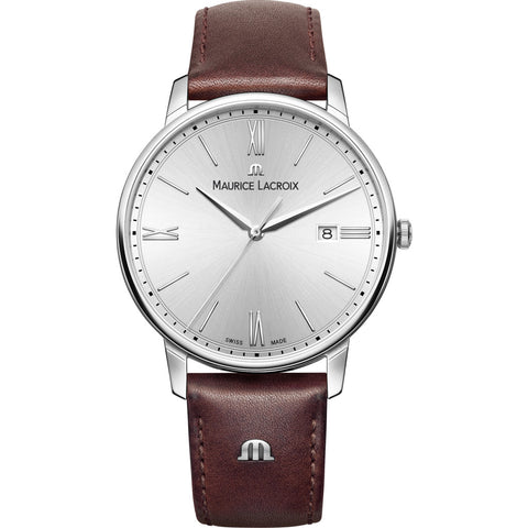 Maurice Lacroix Eliros Date 40mm Watch | Silver/Brown Leather EL1118-SS001-110-1