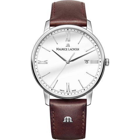 Maurice Lacroix Eliros Date 40mm Watch | White/Brown Leather EL1118-SS001-113-1