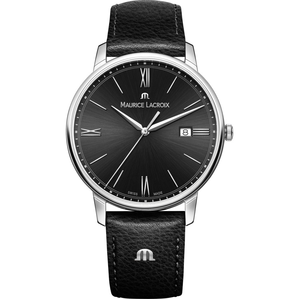 Maurice Lacroix Eliros Date 40mm Watch | Black/Black Leather  EL1118-SS001-310-1