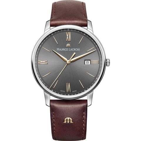 Maurice Lacroix Eliros Date 40mm Watch | Anthracite/Brown Leather EL1118-SS001-311-1