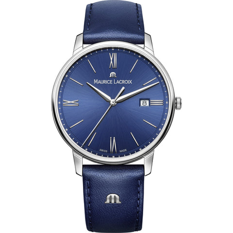 Maurice Lacroix Eliros Date 40mm Watch | Blue/Silver/Blue Leather EL1118-SS001-410-1