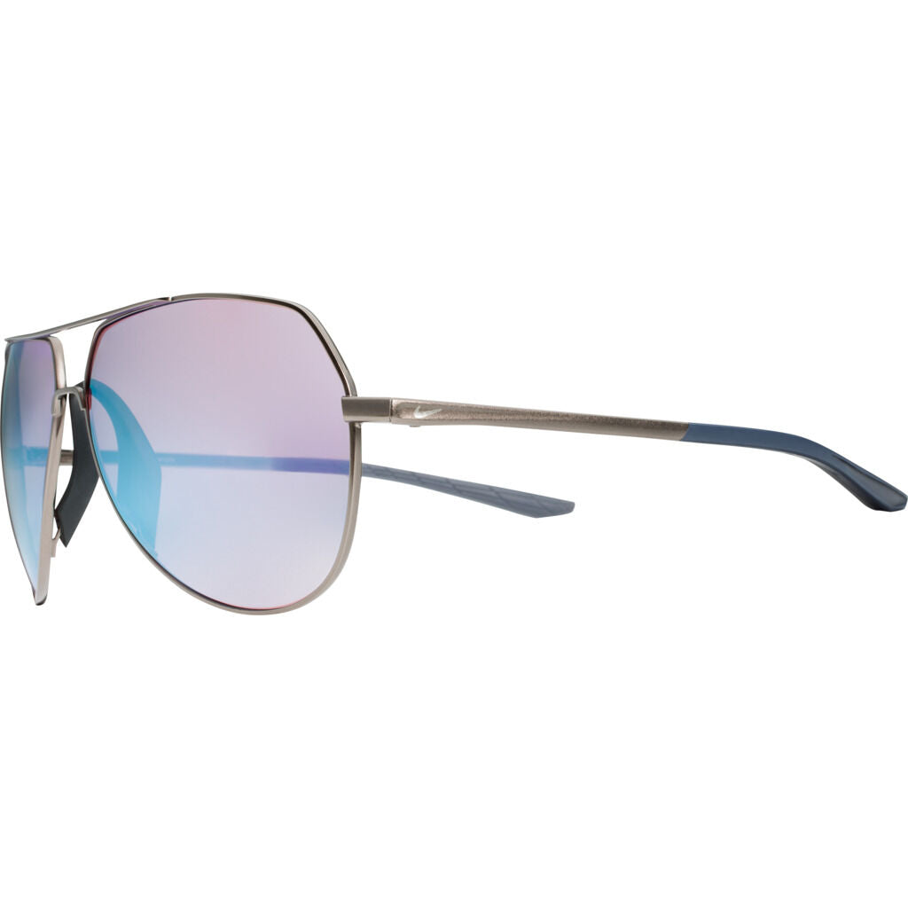 Nike Outrider Mirrored Course Tint Sunglasses|Pewter/Thunder Blue/Light Carbon Course Tint W/ Milky Blue Mirror EV1086-020