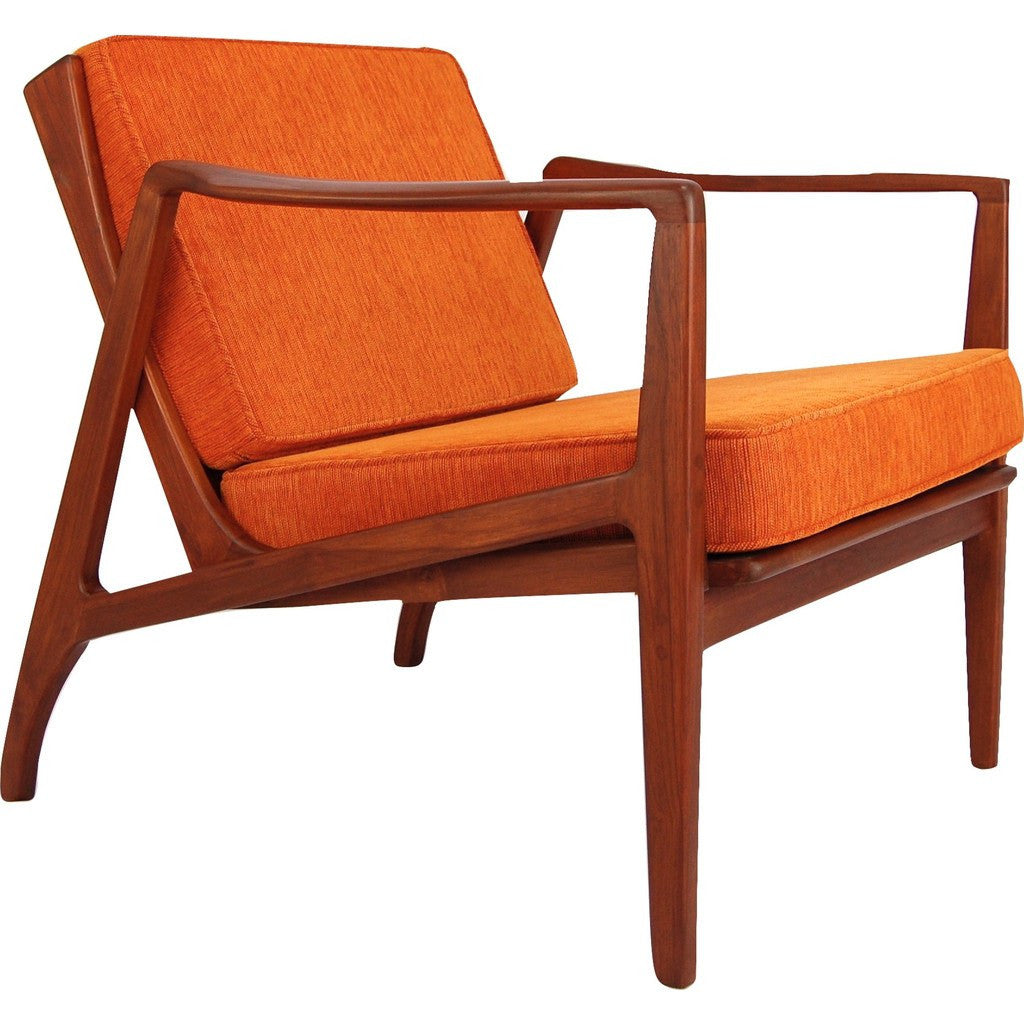 Fantastic Bowery Grand Teak Zoe Lounge Chair Electric Orange Dailytribune Chair Design For Home Dailytribuneorg
