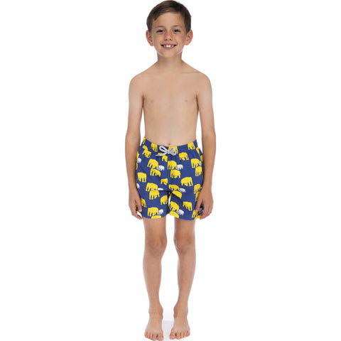 Tom & Teddy Boy's Elephant Swim Trunk | Navy & Yellow / 11-12