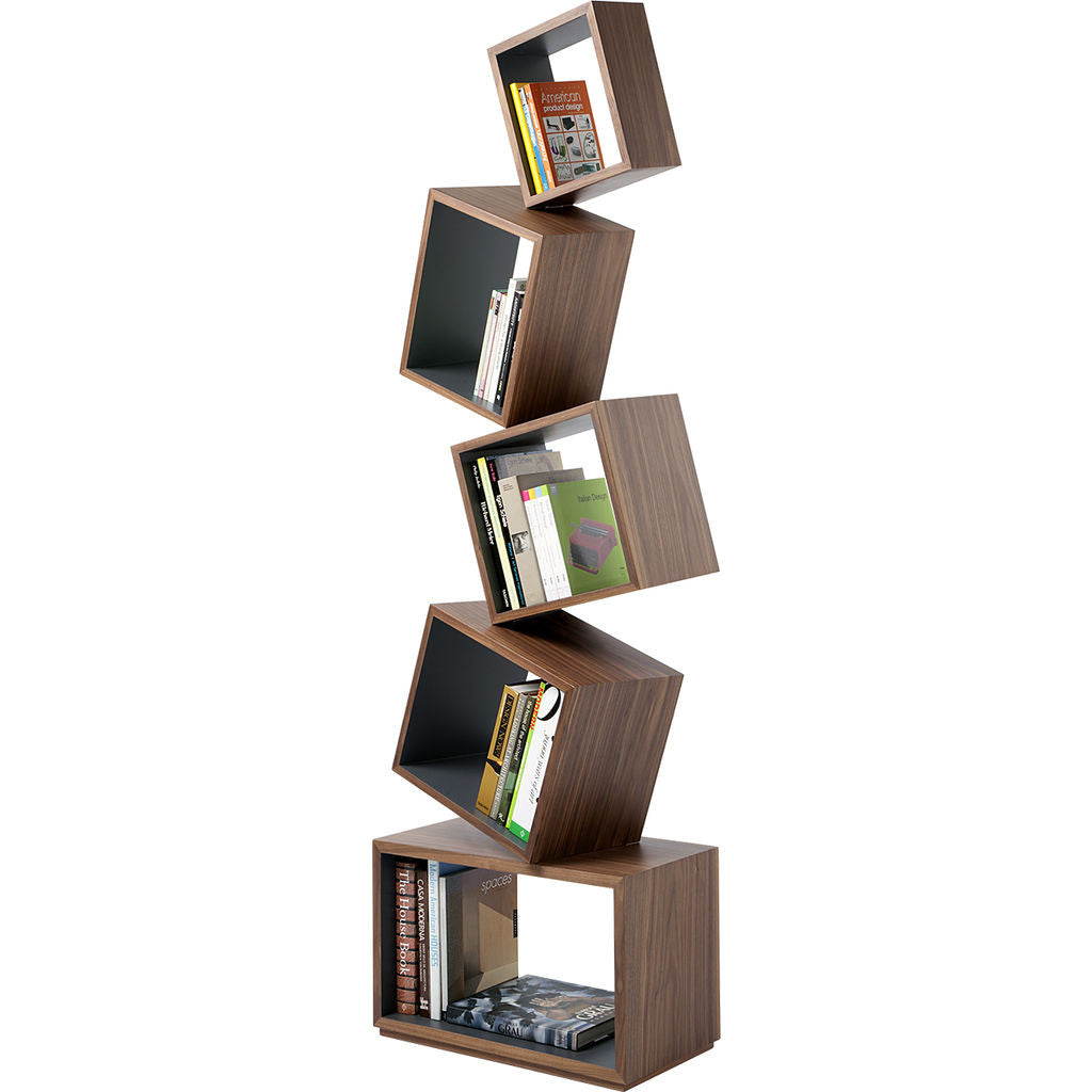 Malagana Equilibrium Walnut Wood Bookcase | Graphite EQ-100 GR
