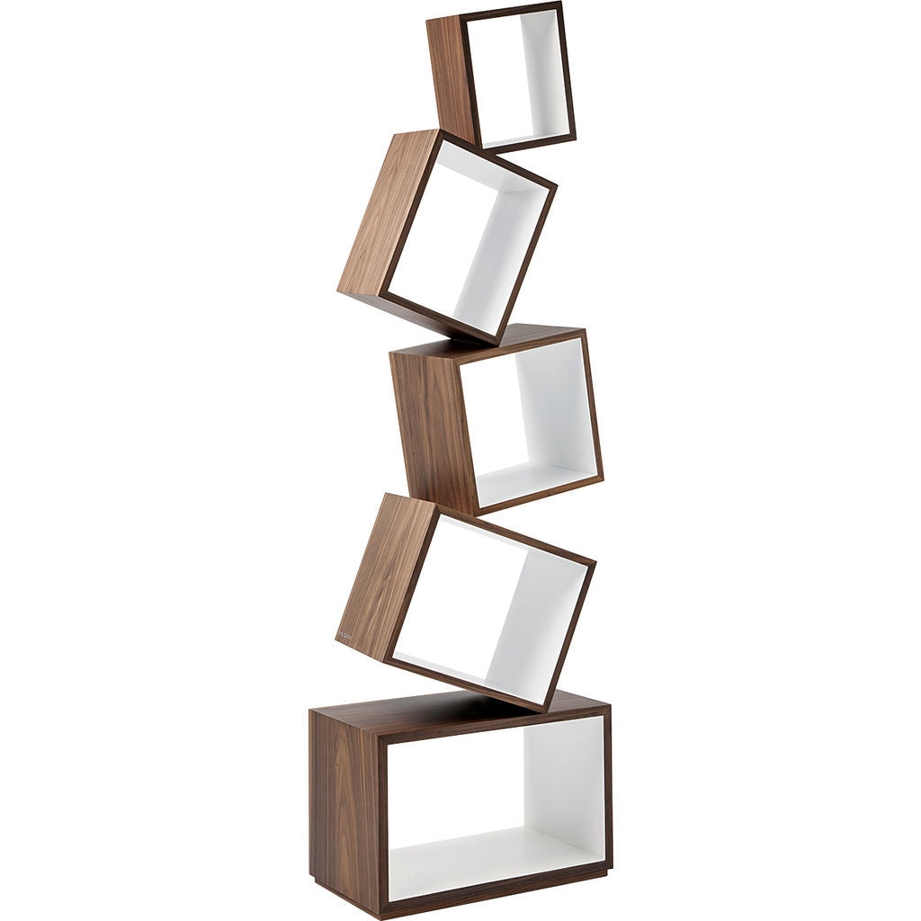 Malagana Equilibrium Walnut Wood Bookcase | White EQ-100 WH