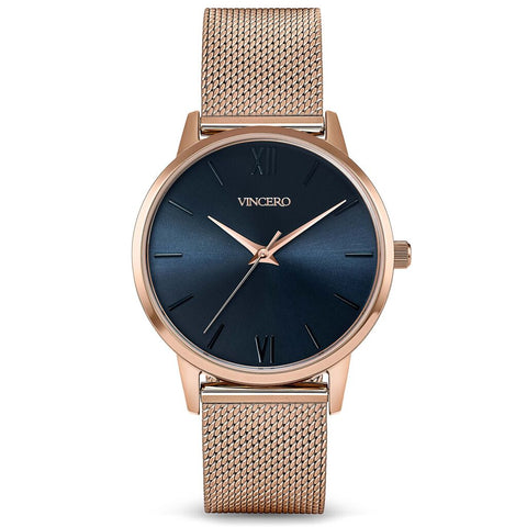Vincero Women's Eros Petite Turkish Blue Watch | Rose Gold Mesh Strap Rg-BluM-3E32
