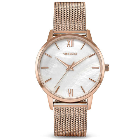 Vincero Women's Eros Petite White Pearl Watch | Rose Gold Mesh Strap RgM-WhiP-3E38