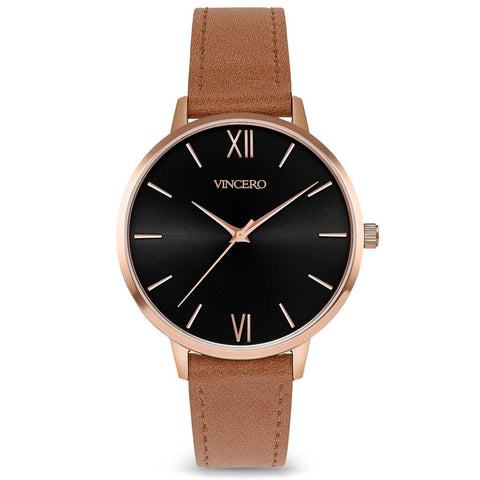 Vincero Women's Eros Petite Quartz Black Watch | Caramel Leather Strap Bla-Car-3E33
