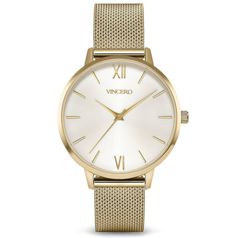 Vincero Women's Eros Quartz Satin Watch | Gold Mesh Strap Yg-WhiM-E29