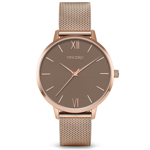 Vincero Women's Eros Quartz Mocha Watch | Rose Gold Mesh Strap Rg-MocM-E39