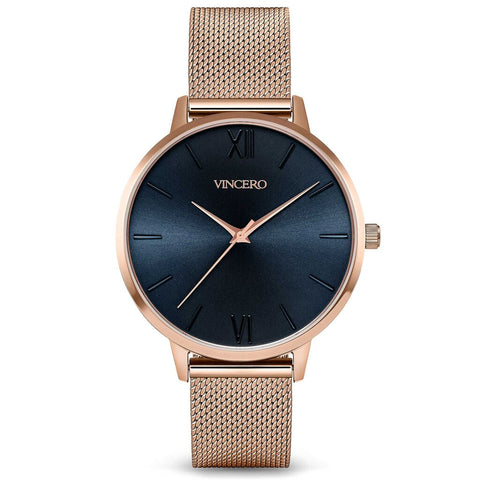 Vincero Women's Eros Quartz Turkish Blue Watch | Rose Gold Mesh Strap Rg-BluM-E32