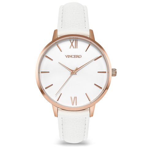 Vincero Women's Eros Quartz Rose Gold Watch | White Leather Strap Whi-Whi-E35
