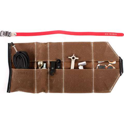 EH Works Essential Bike Tool Roll | Brown with Red Strap ESSBRR