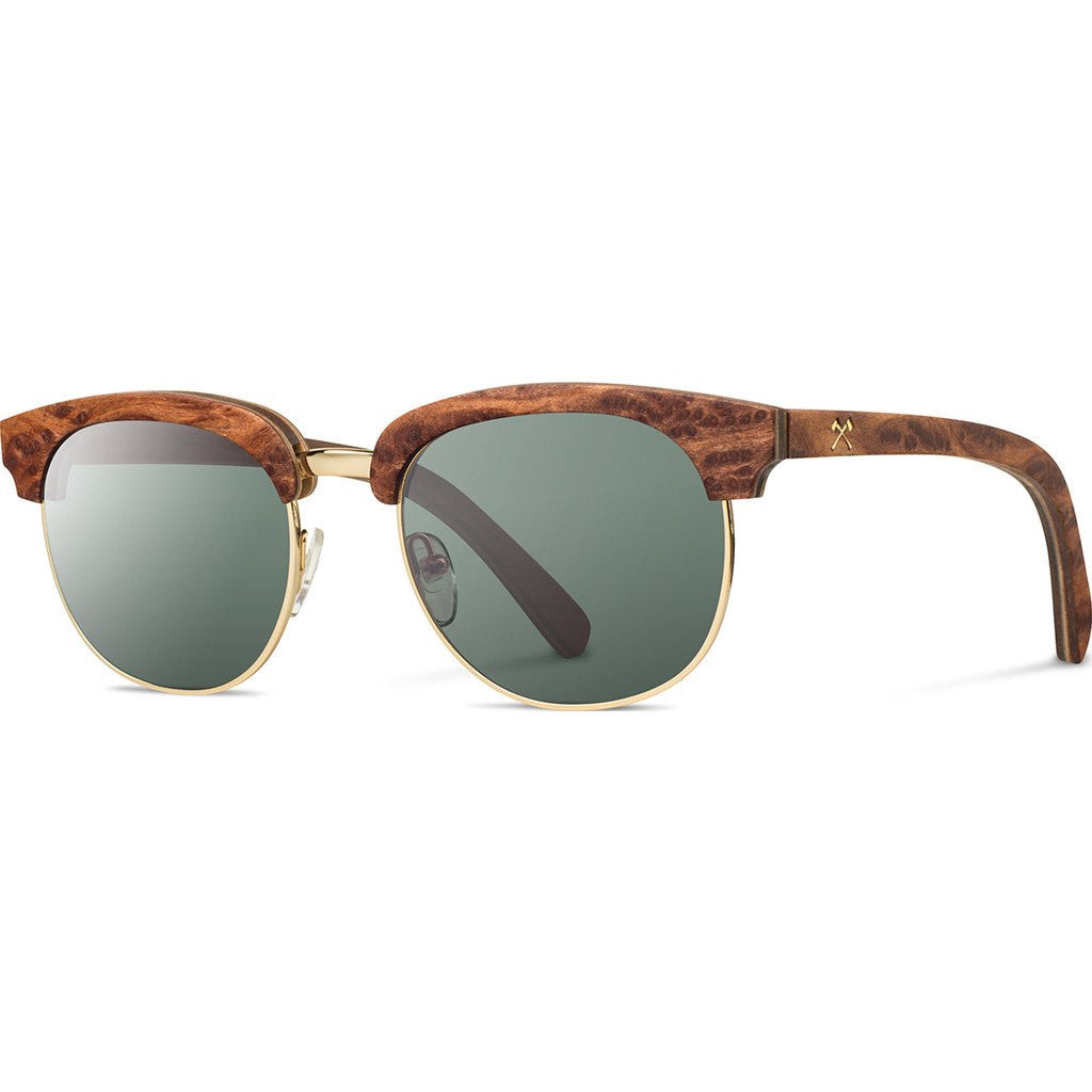 Shwood Eugene Original Sunglasses | Redwood Burl Gold / G15 Polarized