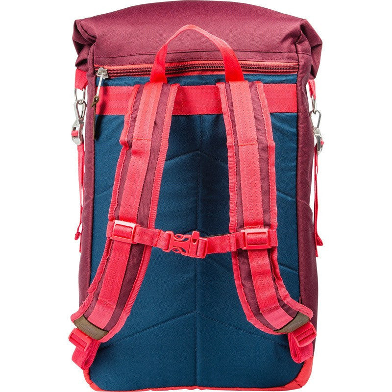 Poler Rolltop 2.0 Backpack | Sweet Berry Wine/Steel Blue/Cayenne 532007-BRG