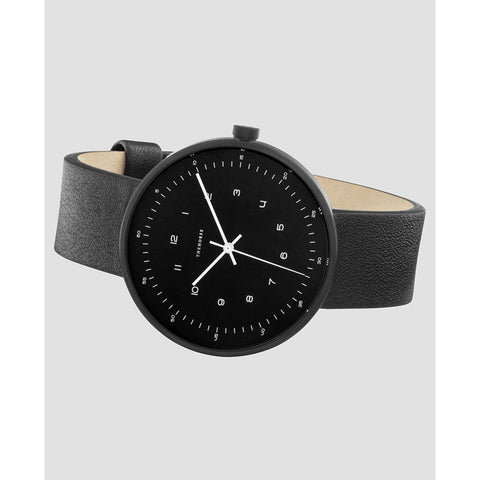 The Horse Minimal 34 mm Matte Black Watch | Black/Black