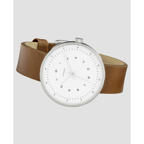 The Horse Minimal 40 mm Silver Watch | White/Tan