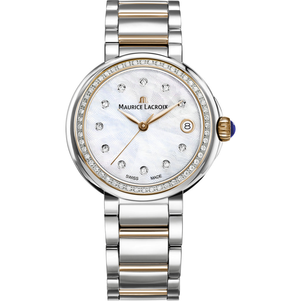 Maurice Lacroix Fiaba Date 28mm Mother of Pearl Watch | Silver/Gold/Diamond FA1007-PVP23-170-1