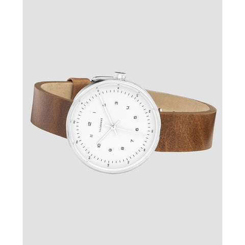 The Horse Minimal 34 mm Silver Watch | White/Tan