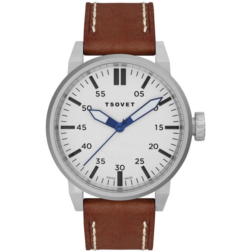 Tsovet SVT-FW44 Swiss Quartz Silver & White Watch | Brown Leather