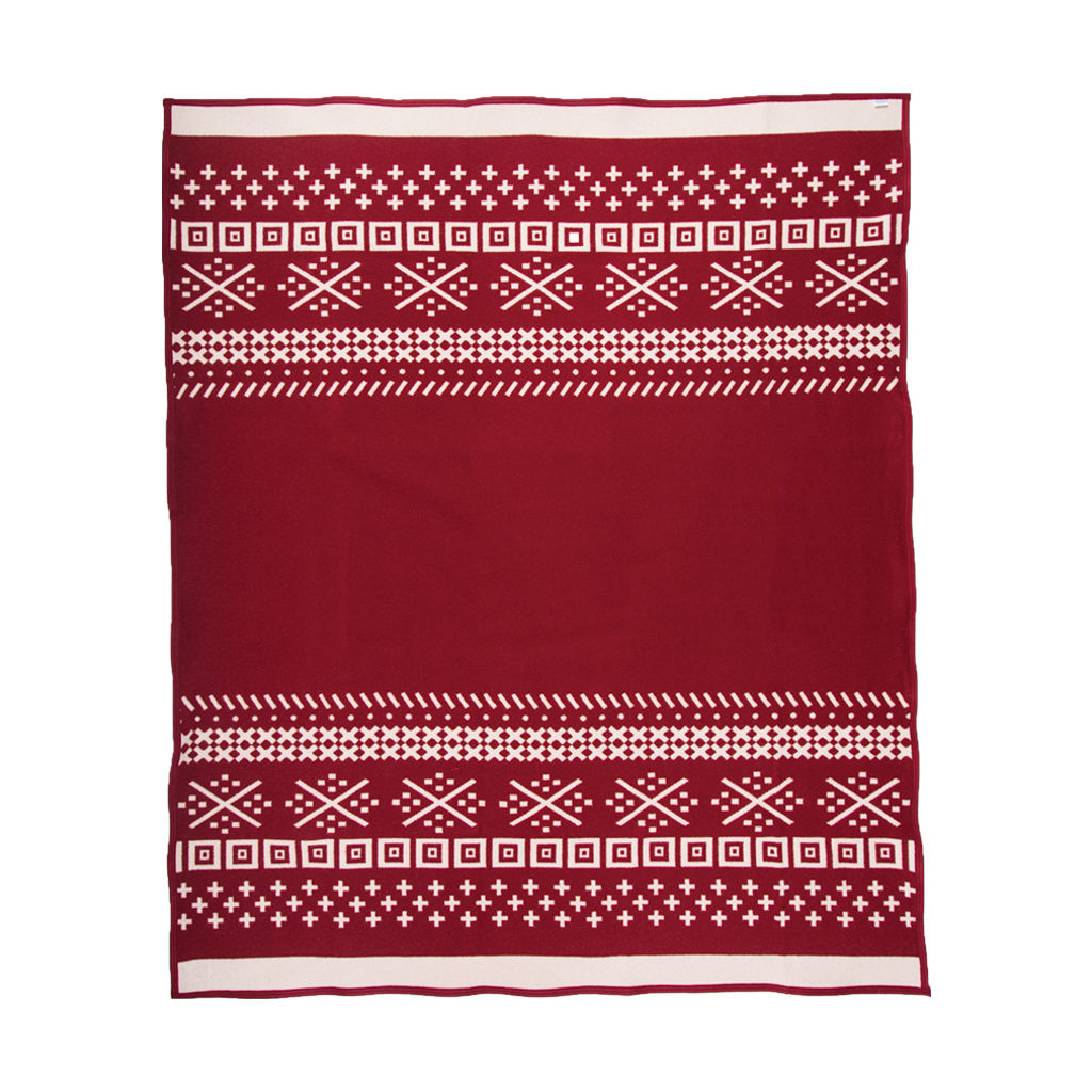 Faribault Northern Fair Isle Wool Blanket | Red