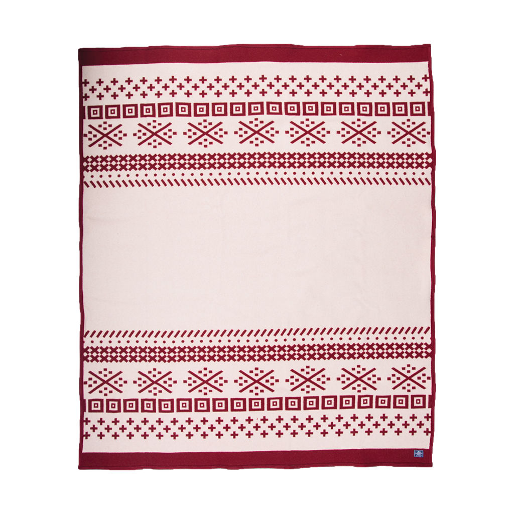 Faribault Northern Fair Isle Wool Blanket Queen | Red - B2NFRD1133