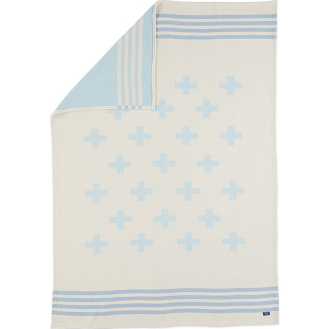 Faribault Seneca Reversible Cotton Throw | Light Blue BTSWLB1986