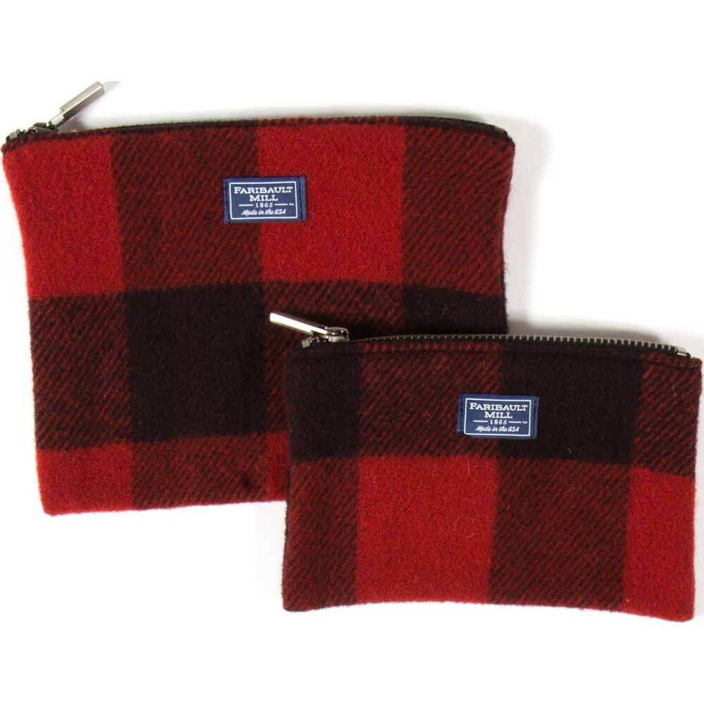 Faribault Buffalo Check Small Pouch | Red/Black- BABCRD1591