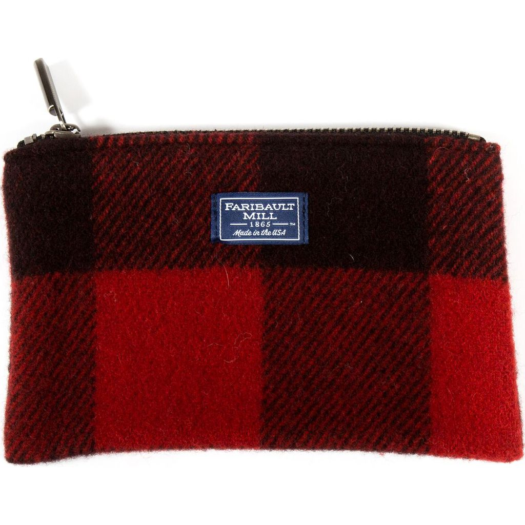Faribault Buffalo Check Small Pouch | Red/Black