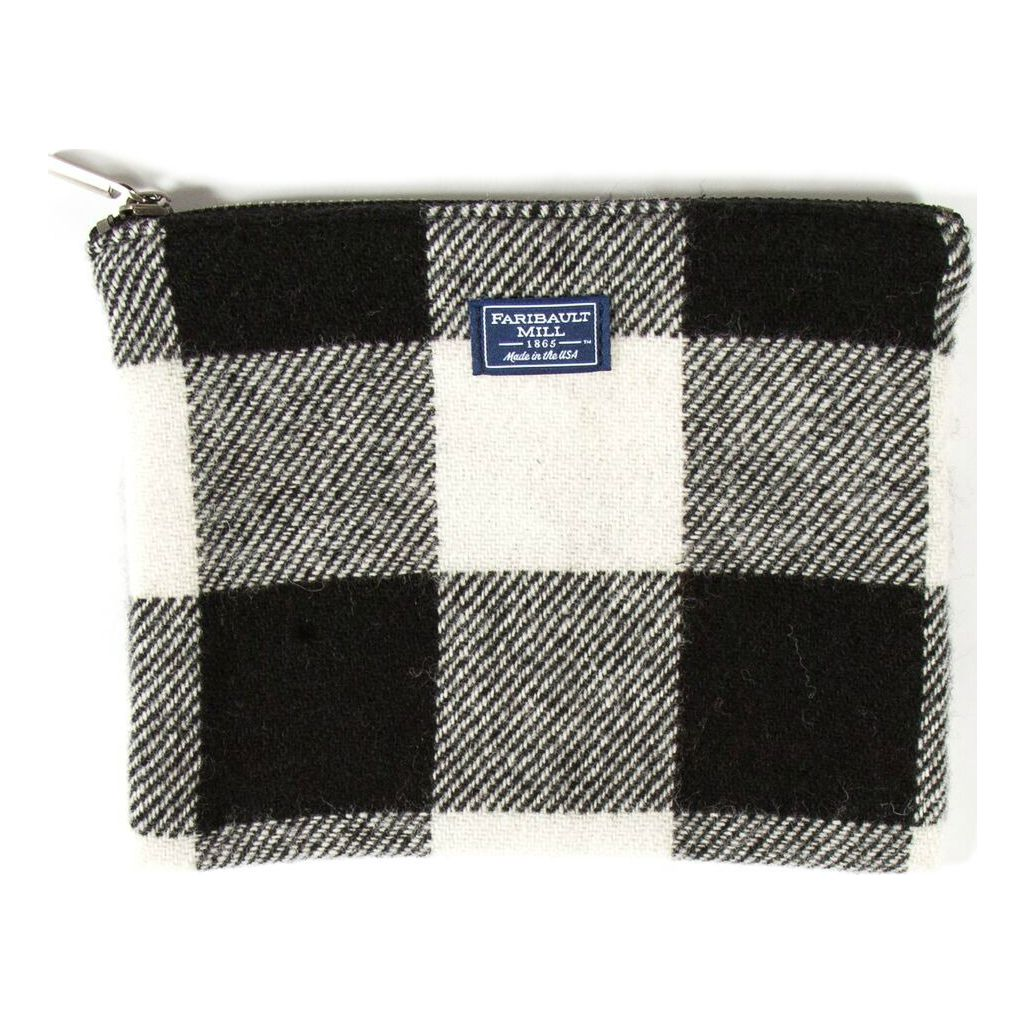 Faribault Buffalo Check Large Pouch | White/Black
