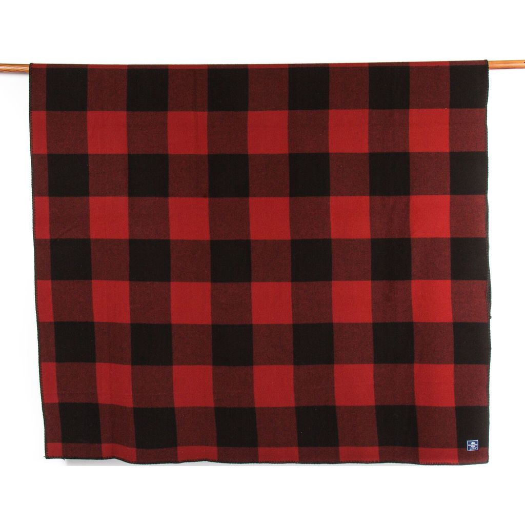 Faribault Oversized Buffalo Check Wool Blanket | Red/Black