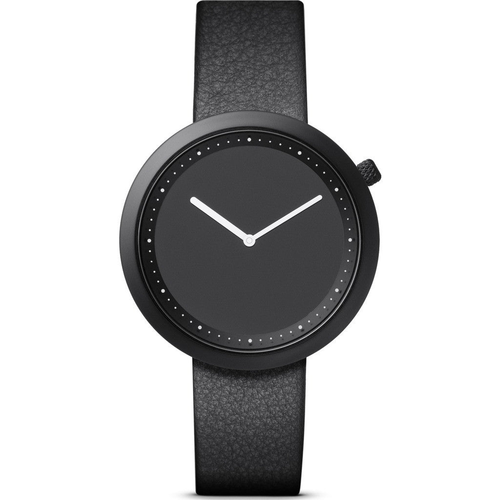 Bulbul Facette 01 Men's Watch | Matte Black Steel on Black Italian Leather
