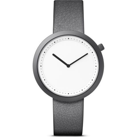 Bulbul Facette 02 Men's Watch | Matte Gun Grey Steel on Grey Italian Leather