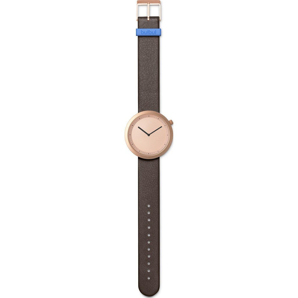 Bulbul Facette 03 Men's Watch | Matte Rose Golden Steel on Brown Italian Leather